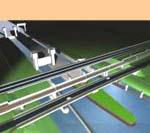 Bruggen over het Amsterdam Rijnkanaal bij de sluizen van Tiel